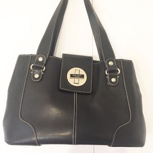 Kate spade | satchel turn lock black leather purse